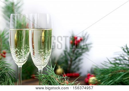 Christmas Holiday Composition, Champaign, Pine Branches, Red Berries