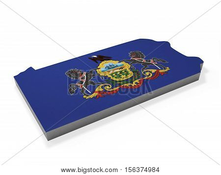 American state Pennsylvania 3D map and flag
