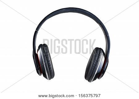 Wireless black headphones front view isolated on white background
