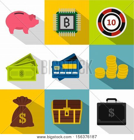Monetary resource icons set. Flat illustration of 9 monetary resource vector icons for web
