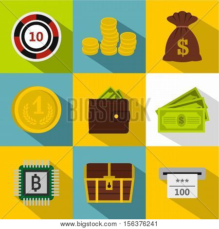 Cash icons set. Flat illustration of 9 cash vector icons for web