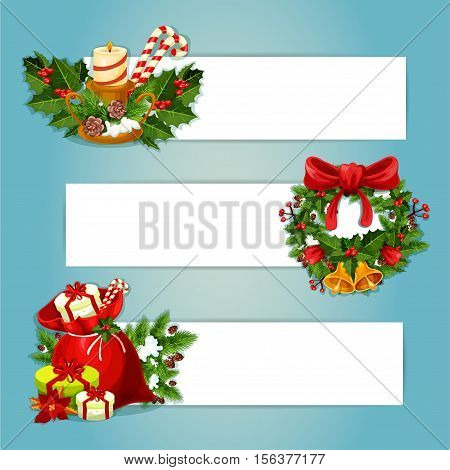 Christmas banner with copy space and holly berry composition. Gift bag with present box, pine and ilex wreath with bell and bow, candle holder with fir and candy cane, poinsettia flower and cone