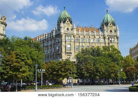 Budapest Hungary - 9 September 2016: Interesting medieval building near the Soviet War Memorial at Szabadsag Ter in Budapest Hungary