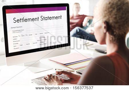 Settlement Statement Balance Scrutiny Estate Concept
