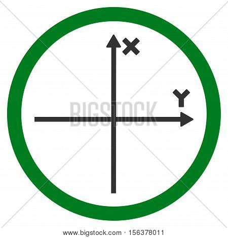 Cartesian Axis vector bicolor rounded icon. Image style is a flat icon symbol inside a circle, green and gray colors, white background.
