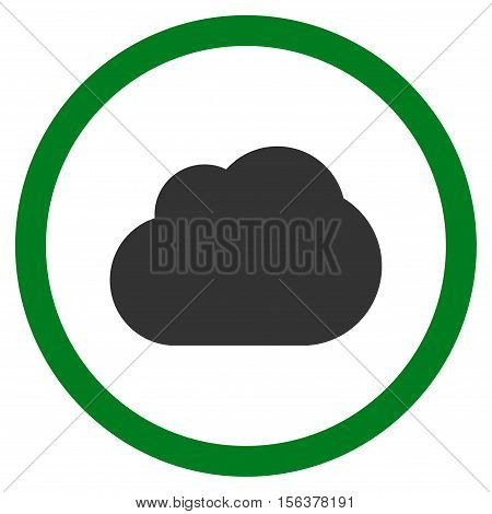 Cloud vector bicolor rounded icon. Image style is a flat icon symbol inside a circle, green and gray colors, white background.