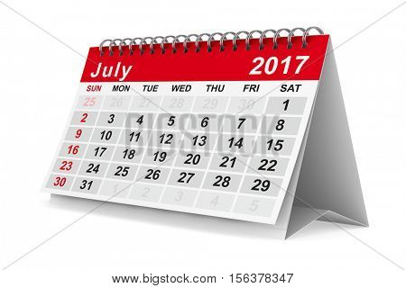 2017 year calendar. July. Isolated 3D image