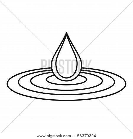 Water drop and spill icon. Outline illustration of drop vector icon for web design