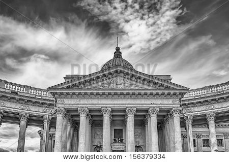 Facade And Colonnade Of Kazan Cathedral In St. Petersburg, Russia