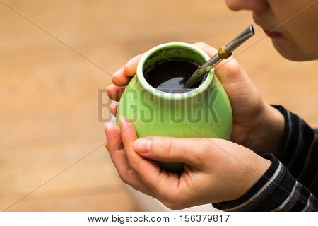 Unrecognizable Woman Drinking Yerba Mate