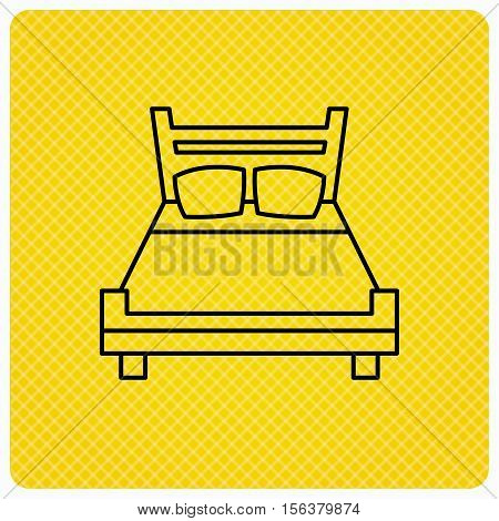 Double bed icon. Sleep symbol. Linear icon on orange background. Vector