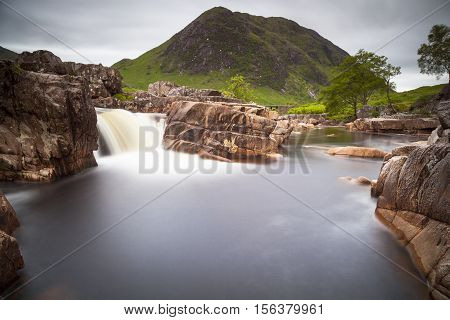 River Etive waterfall In the valley of Glencoe Scotland