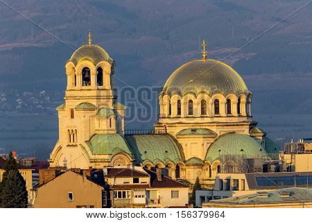 Alexander Nevsky cathedral at sunset. Beautiful view of Alexander Nevsky Cathedral in Sofia the capital of Bulgaria.