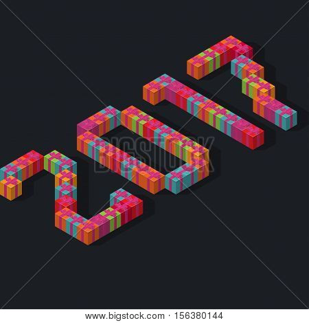 Isometric font 2017 numbers dialing a holiday gifts idea for congratulations concept poster banner or invitation