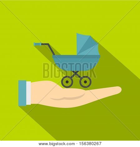 Baby pram protection icon. Flat illustration of baby pram protection vector icon for web design
