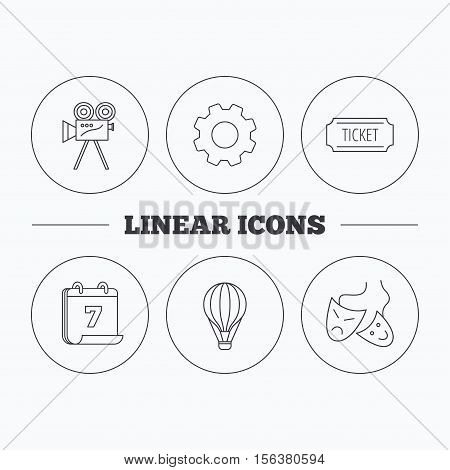 Video camera, ticket and theatre masks icons. Air balloon linear sign. Flat cogwheel and calendar symbols. Linear icons in circle buttons. Vector