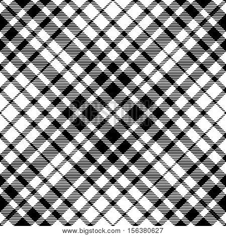 Seamless black & white tartan plaid pattern. Traditional checkered design print. Plaid fabric texture background.