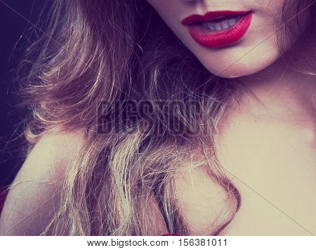 Sensual Girl With Red Lips.