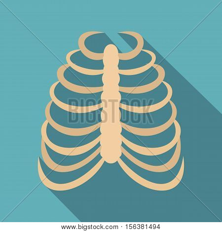 Rib cage icon. Flat illustration of rib cage vector icon for web