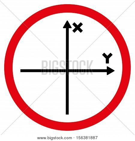 Cartesian Axis vector bicolor rounded icon. Image style is a flat icon symbol inside a circle, intensive red and black colors, white background.