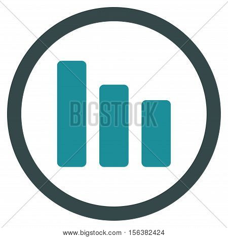 Bar Chart Decrease vector bicolor rounded icon. Image style is a flat icon symbol inside a circle, soft blue colors, white background.
