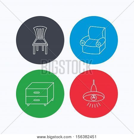 Ceiling lamp, nightstand and armchair icons. Chair linear sign. Linear icons on colored buttons. Flat web symbols. Vector