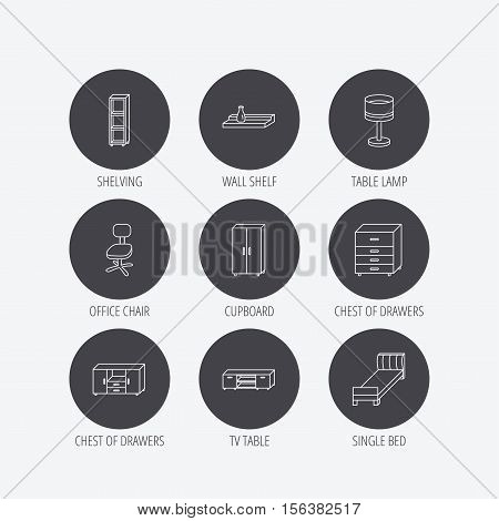 Single bed, TV table and shelving icons. Office chair, table lamp and cupboard linear signs. Wall shelf, chest of drawers icons. Linear icons in circle buttons. Flat web symbols. Vector