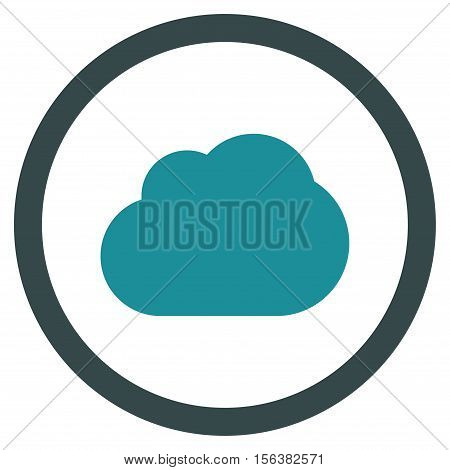 Cloud vector bicolor rounded icon. Image style is a flat icon symbol inside a circle, soft blue colors, white background.