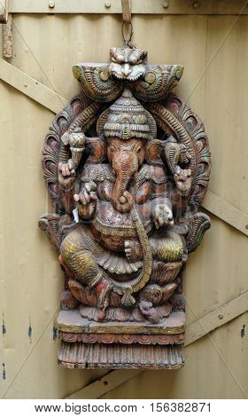 JAIPUR, INDIA - FEBRUARY 16: The statue of the God Ganesha on the front door of the house in Jaipur, Rajasthan, India on February 16, 2016.