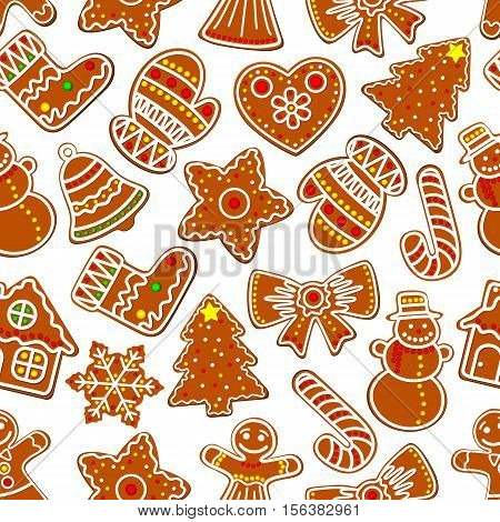 Christmas festive ginger cookie seamless pattern of gingerbread man, house and xmas tree, candy cane, snowman and bell, star, snowflake and bow, stocking sock, glove and heart. Winter holidays background design