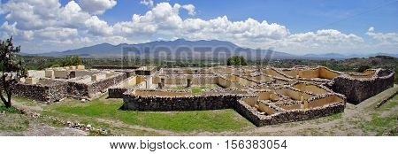 Panoramic view of the Palace of the Six Patios at Zapotec archaeological site of Yagul ruin, Oaxaca, Mexico. This is a labyrinthine structure formed of an intricate complex of passageways and many rooms.