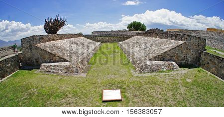 Panoramic view of the Ball court at Zapotec archaeological site of Yagul ruin, Oaxaca, Mexico. It was built in the Classic Period between 500 and 700 AD. Total length: 47 meters, Central field: length is 30 meters and wide is 6 meters.