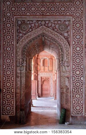 FATEHPUR SIKRI, INDIA - FEBRUARY 15: Jama Masjid Mosque in Fatehpur Sikri complex, Uttar Pradesh, India on February 15, 2016.
