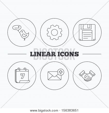 Outbox mail, message and handshake icons. Floppy disk linear sign. Flat cogwheel and calendar symbols. Linear icons in circle buttons. Vector