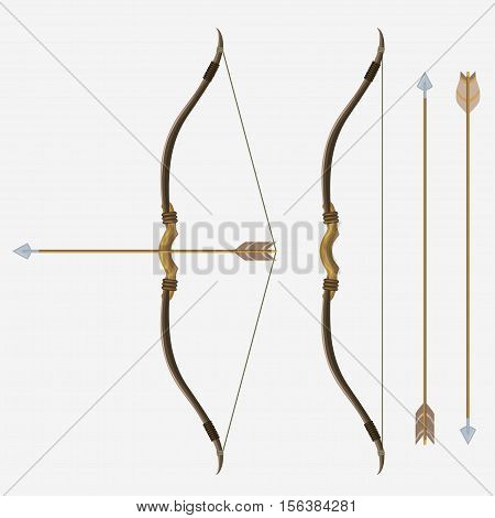 Bow and arrow, archery in cartoon style, indian hunter weapon Cupid sign, antique armor shoot. Vector