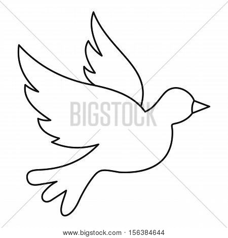 Dove icon. Outline illustration of dove vector icon for web