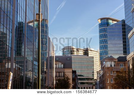 BRUSSELS - NOVEMBER 23: The modern part of city centre in Brussel on May 05. 2015 in Belgium.
