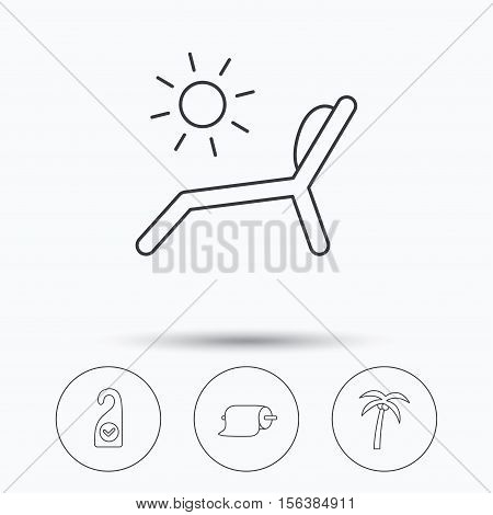 Palm tree, paper towel and beach deck chair icons. Clean room linear signs. Linear icons in circle buttons. Flat web symbols. Vector