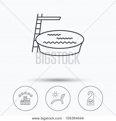 Hotel, swimming pool and beach deck chair icons. Clean room linear sign. Linear icons in circle buttons. Flat web symbols. Vector