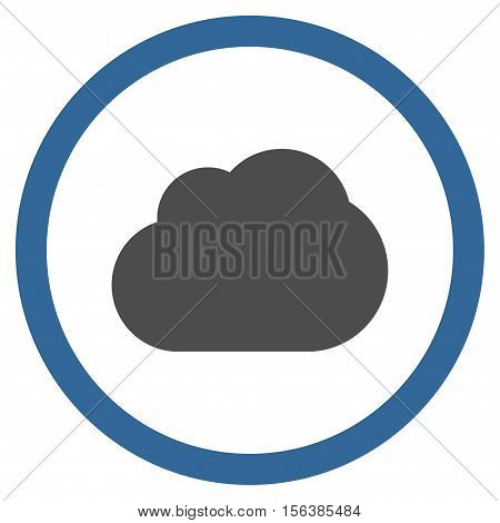 Cloud vector bicolor rounded icon. Image style is a flat icon symbol inside a circle, cobalt and gray colors, white background.