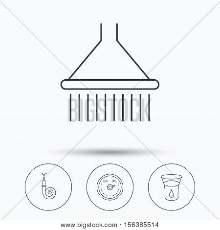 Shower, fire hose and heat regulator icons. Glass of water linear sign. Linear icons in circle buttons. Flat web symbols. Vector
