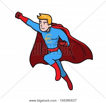 The Power of Money Dollar Finance Business. A hand drawn vector illustration of a super man with Euro symbol on his chest.