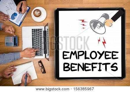 Employee Benefits Man Working On Tablet Technology Communication