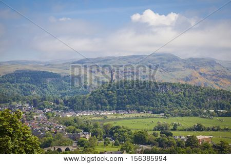 Landscape with the Old Stirling Bridge Abbey Craig and Wallace Monument at Stirling Scotland