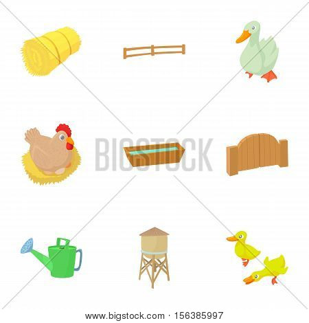 Farmyard icons set. Cartoon illustration of 9 farmyard vector icons for web