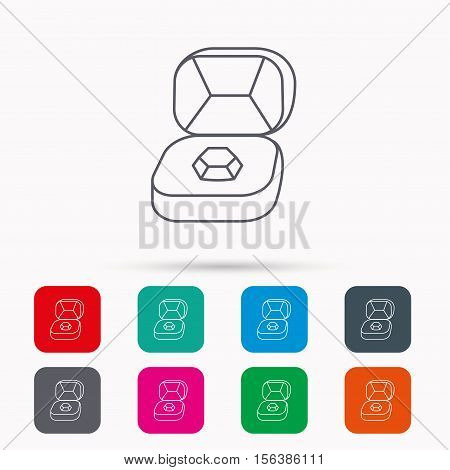 Brilliant jewellery icon. Engagement sign. Linear icons in squares on white background. Flat web symbols. Vector