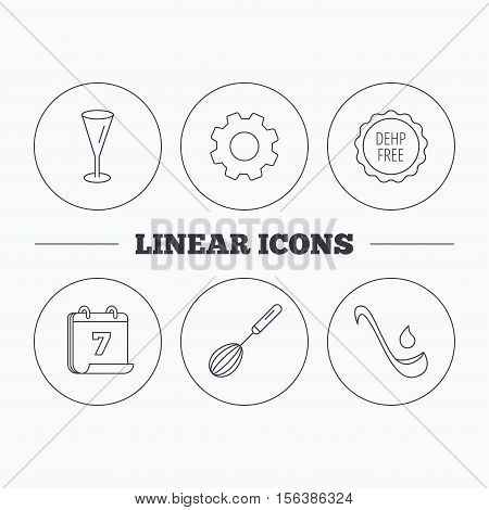 Soup ladle, glass and whisk icons. DEHP free linear sign. Flat cogwheel and calendar symbols. Linear icons in circle buttons. Vector