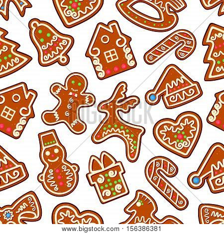 Christmas cookie and sweets seamless pattern of gingerbread man, gift box, xmas tree, snowman, candy cane, bell, santas hat, bow, heart, deer, rocking horse. New Year dessert background design