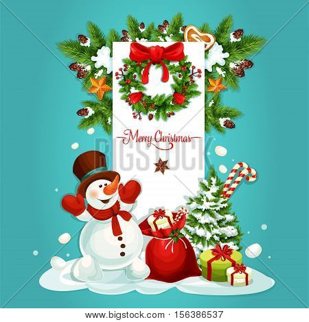 Christmas snowman with gift greeting card. Present and candy cane in red bag, snowy pine tree, holly berry and fir wreath with ribbon, bow, golden star and gingerbread cookie. Festive poster design