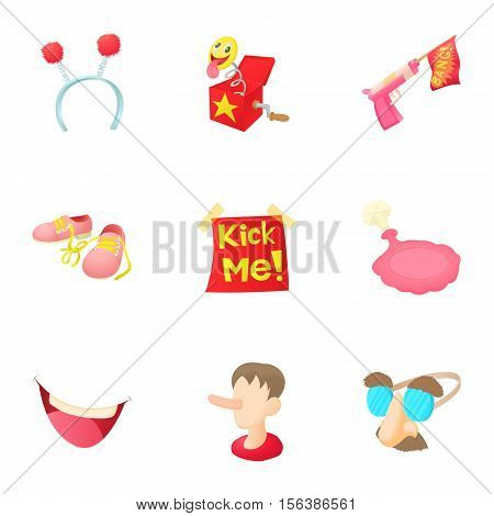 April fool day icons set. Cartoon illustration of 9 April fool day vector icons for web